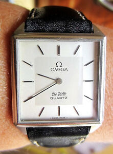 Gents-Swiss-1980-S-SS-Omega-De-Ville-orologio-al-quarzo-c-1365-REVISIONATA