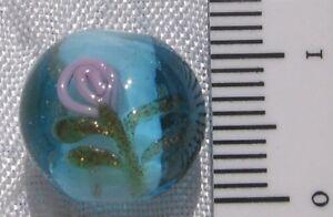 6pcs Cœur Bleu Lampwork Perles en verre avec fleur rose 12 mm Valentine Love B08185
