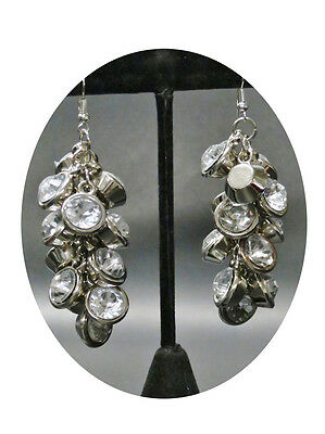 6140-10 NEW diamante drop earrings silver
