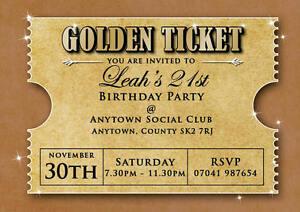 Birthday invitations 18th 21st 30th golden ticket inc envelopes ebay image is loading birthday invitations 18th 21st 30th golden ticket inc filmwisefo