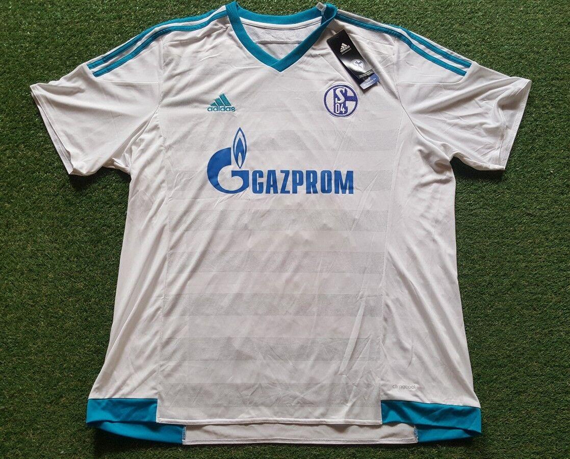 FC Schalke 04 Maglia 2XL Adidas Maglietta Jersey Gazprom Nuovo con Etichetta