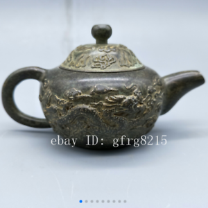 China old antiques Copper Silvering MING XUANDE Dragon /&Phoenix Teapot