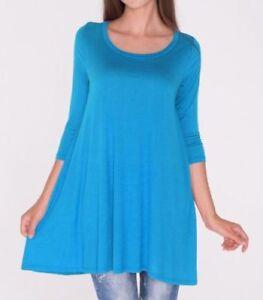 Womens-3-4-Sleeve-Azule-Sky-Blue-Tunic-Top-Shirt-Blouse-Dress-S-M-L-1X-2X-3X