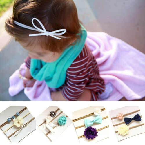 3PCS Baby Girls Infant Toddler Flower Bow Headband Lovely Hair Band Accessories