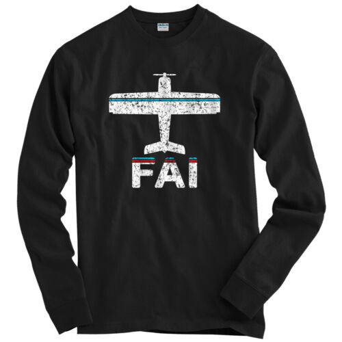 Airlines Alaska Men Fly Fairbanks FAI Airport Long Sleeve T-shirt LS Youth
