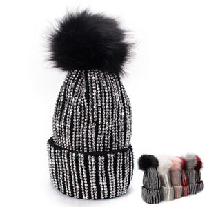 d1ff61651e4 Womens Faux Fur Pompom Rhinestones Beads Beanie Turn Up Knit Hat Ski ...