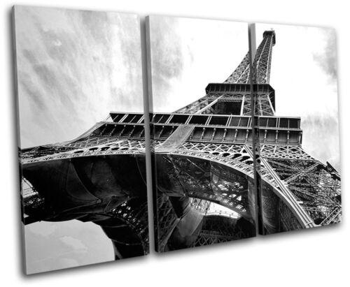 Paris Eiffel Tower Landmarks TREBLE CANVAS WALL ART Picture Print VA
