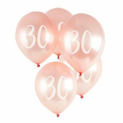 30th Birthday Anniversary Rose Gold Latex Balloons Pack of 5 Air or Helium