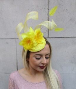 Image is loading Yellow-Daffodil-Feather-Flower-Fascinator-Pillbox-Hat-Races - ed25b589c0c