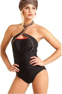 57aba599102 Carol Wior Swimsuit 4-Way Bandeau Slimsuit with Leopard Print Trim ...