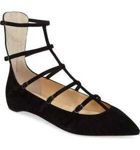 a69aa87ae41c Image is loading CHRISTIAN-LOUBOUTIN -TOERLESS-AMAZING-BLACK-SUEDE-CAGED-FLATS-