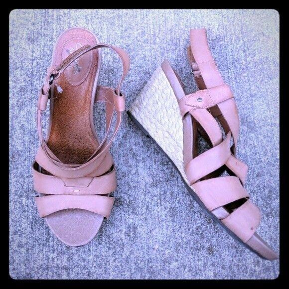 Clarks artisan strappy Leder Sandale wedge 8.5