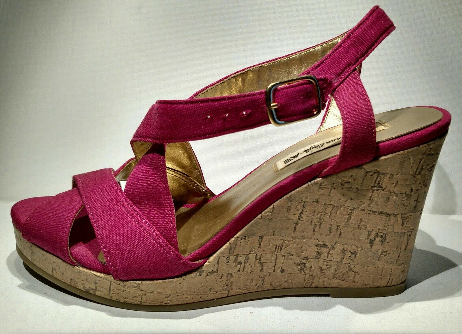 AMERICAN material EAGLE Sz7 canvas pink material AMERICAN sandal 4inch wedge used 1 time e64560