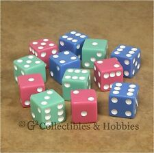 NEW Set of 12 Dice - Pastel Green Blue Pink 16mm 5/8 inch RPG Bunco Game D6