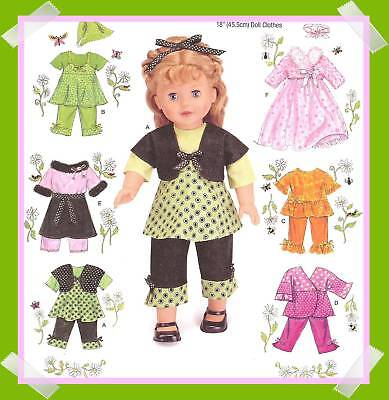 Sewing PATTERN for Capri pants clothes Simplicity 2458 kimono top fits 18in doll