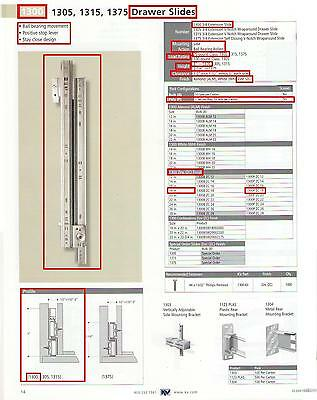 "GRANT #338-24/""-02 DRAWER SLIDES 3//4 EXTENSION STEEL WITH SCREWS ZINC-PLATED"