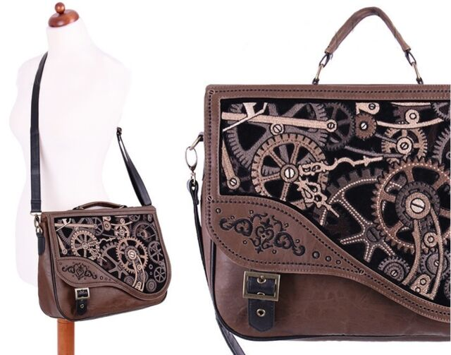 Restyle Handtasche Leder Mechanism Steampunk Tasche Satchel Gothic Bag WGT Brown