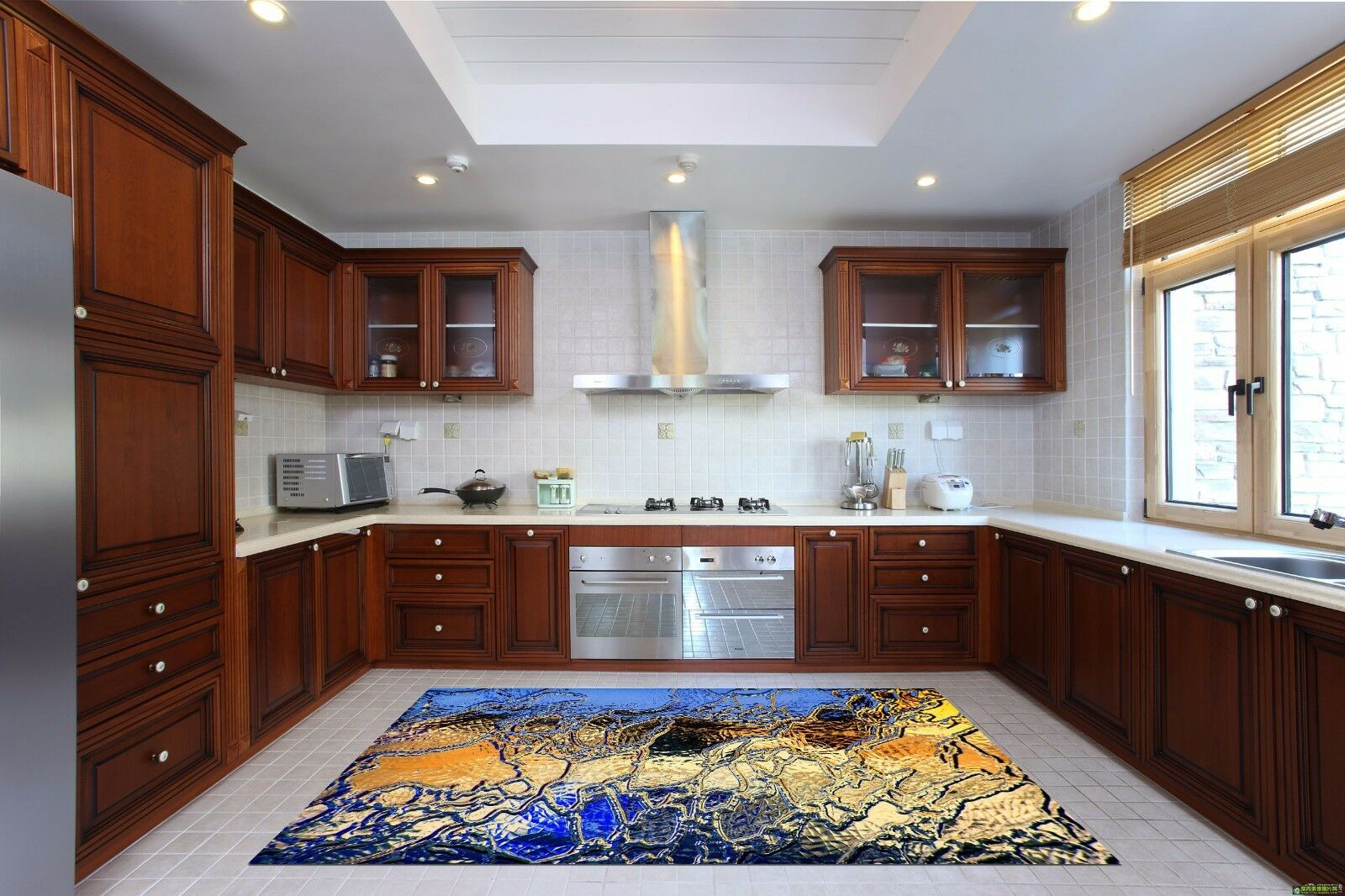 3D Blau Ripple 70 Kitchen Mat Floor Murals Wall Print Wall Deco UK Carly