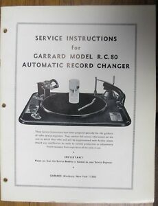 SERVICE-MANUAL-FOR-GARRARD-RC-80-TURNTABLE-ORIGINAL-32-PAGES-USEFUL-INFO