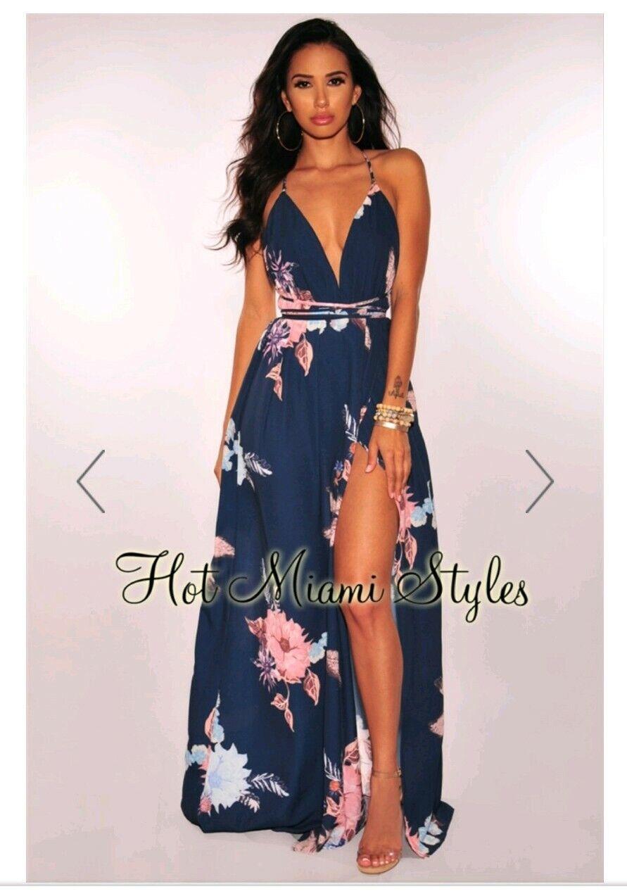 NWT HOT MIAMI STYLES Floral Maxi Short Romper Rosa Blau Größe S