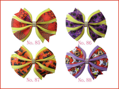 "50 BLESSING Girl 4.5/"" Two Tone Wendy Hair Bow Clip Winter Halloween Christmas"