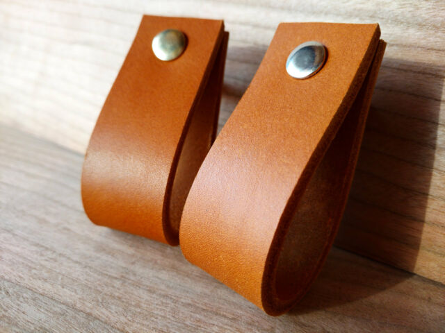 LEATHER PULL,HANDLE FOR DRAWERS,CABINETS,DOORS - SADDLE TAN 4mm VEG TAN LEATHER