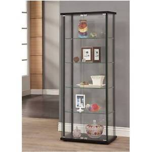 Details about Glass Cabinet Storage Furniture Shelves Corner Kitchen Home  Display Living Room