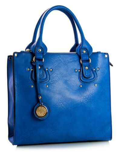 Womens Multiple Top Pockets Faux Leather Top Handle Gold Trim Satchel Tote Bag