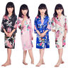 Kid Silk Satin Kimono Robes Bathrobe Sleepwear Wedding Flower Girl Night Dress