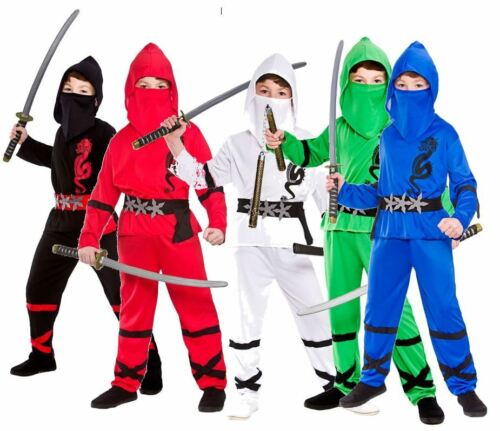Boys POWER NINJA SAMURAI Fighter Warrior Martial Fancy Dress Costume Ages 3-13