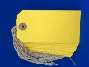 100 Yellow Xmas Present Tags String Tie on Luggage Parcel Price Label 120x60mm