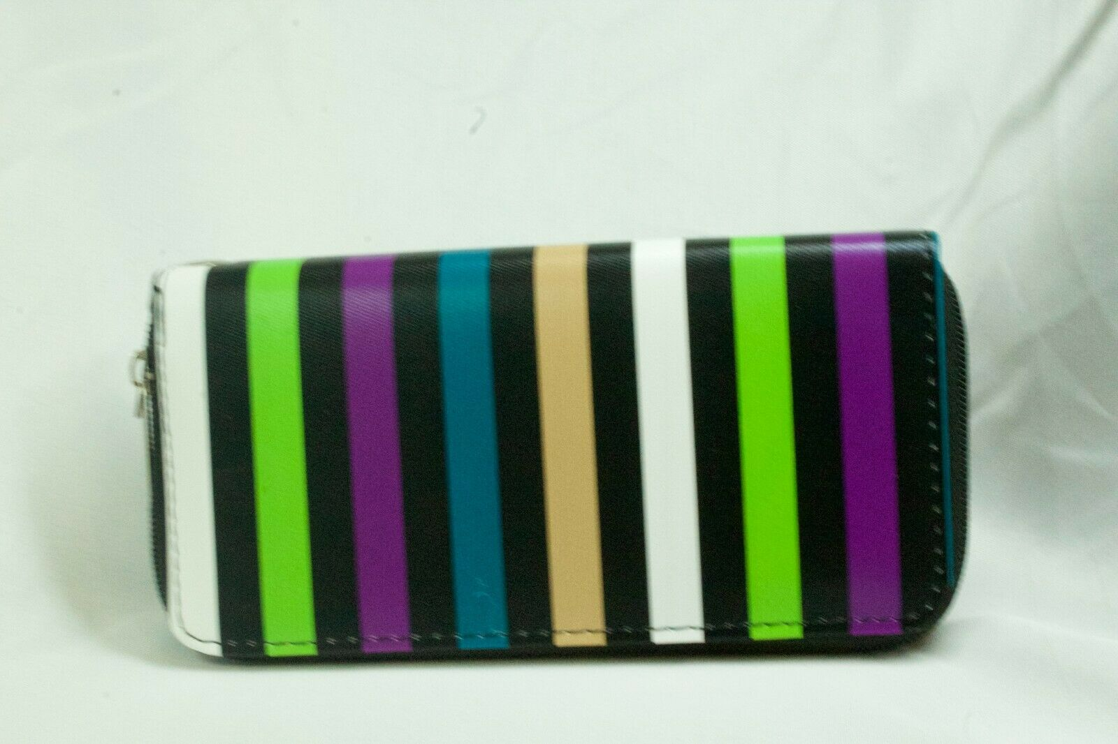 Ladies Wallet 2 zip closure divided sides, Striped Black with Green purple more