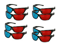 x8 Pairs of Cyan & Red (Blue and Red) 3D Glasses Family Pack High Quality - NEW