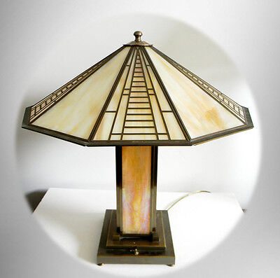 Fredrick Raymond vintage mission or art deco style lamp - slag glass FREE SHIP