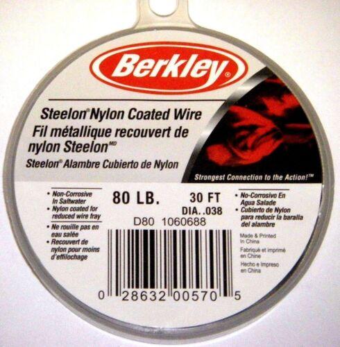 Berkley Steelon Nylon Coated Fishing Wire Leader SS Material D80 80lb 30ft