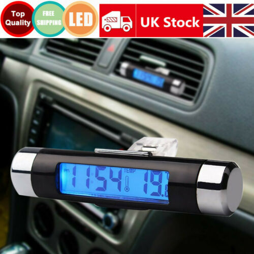 Car Digital LCD Clock Thermometer Auto Backlight Electronic Clock Temp Display