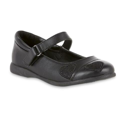 Girls Abbey Black Mary Jane Shoes with a Buckle and Heart Embellishments