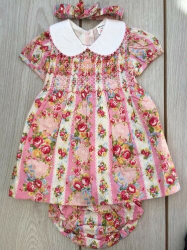 A Girls Romany Spanish Style Traditional Smocked Vintage Floral Dress 0 Age 3