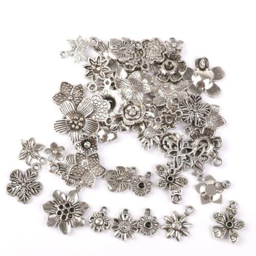 50pcs Filigree Heart Snowflake Cross Charms Pendant Fit Necklace DIY Making