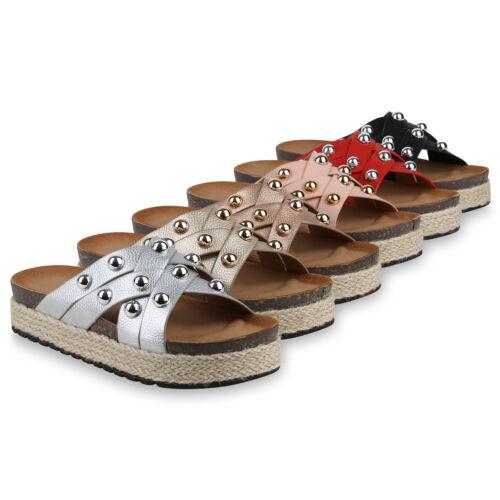 Damen Sandaletten Plateau Pantoletten Bast Sommer Nieten 822950 Schuhe