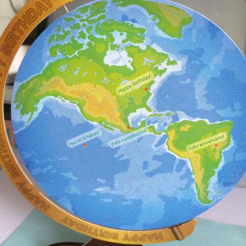 Nuevo brillan en la oscuridad 3D Globe Pop Up World Cumpleaños Tarjeta Corte Láser