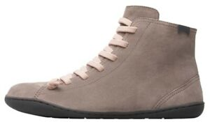 Camper Peu Cami Grey Beige Womens Leather Ankle Hi Boots