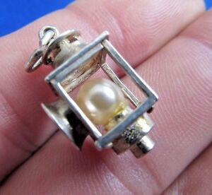 VINTAGE-STERLING-SILVER-BRACELET-CHARM-MINERS-LAMP-LANTERN-3-7-g-NUVO