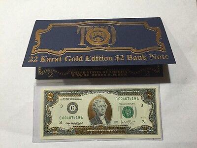 22 Karat Gold Edition $2 Bank Note Uncirculated Notes
