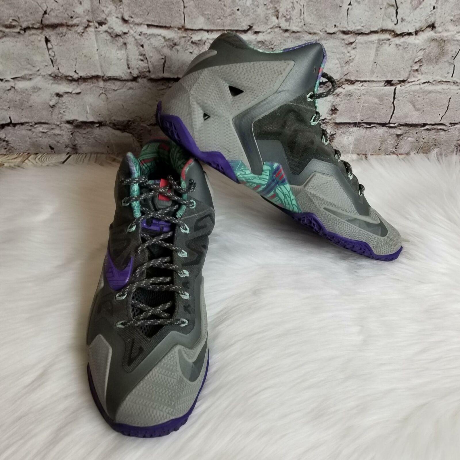 7a2f0c1f4abb Nike Men s Lebron XI 11 Warrior Basketball Sneakers Size Size Size 10M Mine  Grey Purple 1a58ac