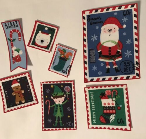 Set Of Christmas Postage Stamp Appliques Iron On Fabric Appliques