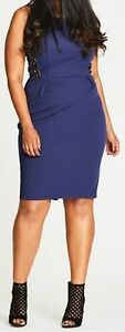 CITY-CHIC-Indigo-Blue-034-Rebel-Yell-034-Knee-Length-Dress-Plus-Size-L-20-RRP-99-99