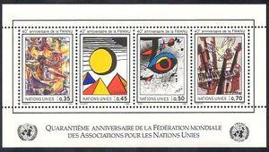 UN-G-1986-WFUNA-Art-Pigeon-Dove-Birds-Eye-Music-Paintings-4v-m-s-n39924