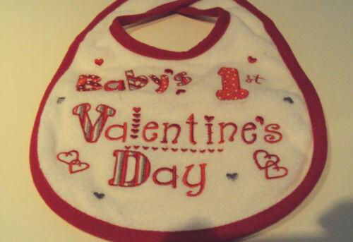 Infant Girls Mini Clasix Baby/'s 1st Valentines Day White Red Trim Holiday Bib