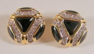 Vintage-Swarovski-SAL-Crystal-Rhinestone-amp-Black-Enamel-Goldtone-Clip-Earrings